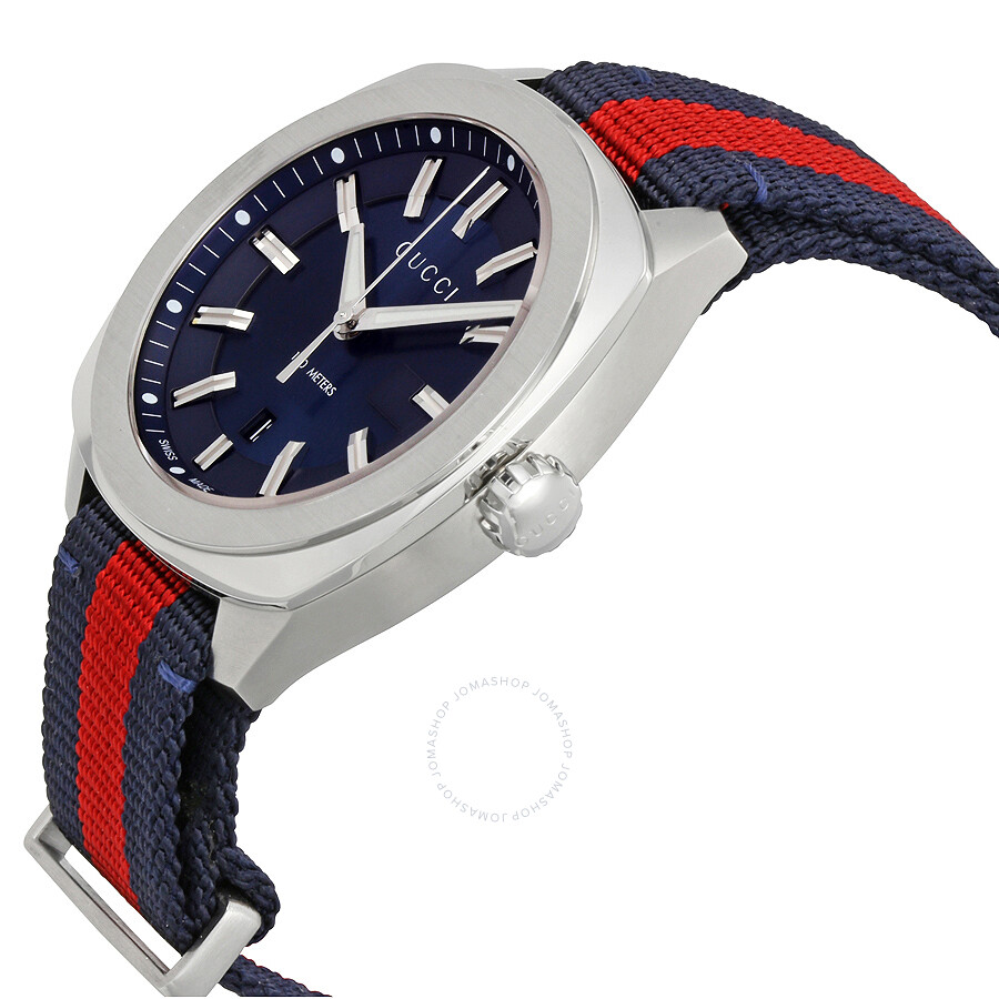 233f344f16f ... Gucci GG2570 Blue Dial Blue and Red Nylon Men s Watch YA142304 ...