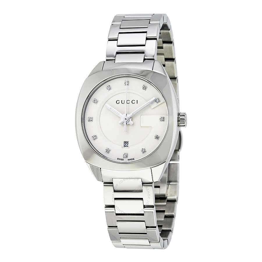115a8f1f1af Gucci GG2570 White Dial Stainless Steel Diamond Ladies Watch YA142504 ...
