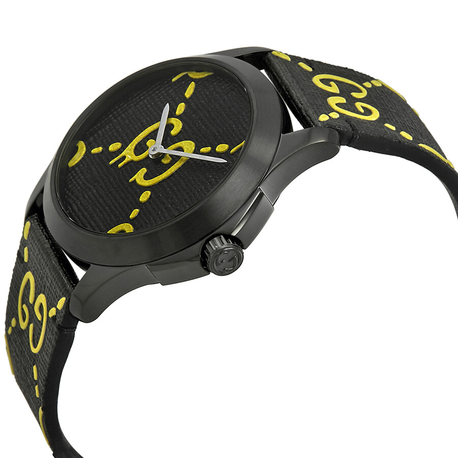 942a678d6a8 ... Gucci Ghost G-Timeless Black and Yellow Dial Men s Rubber Watch  YA1264019 ...