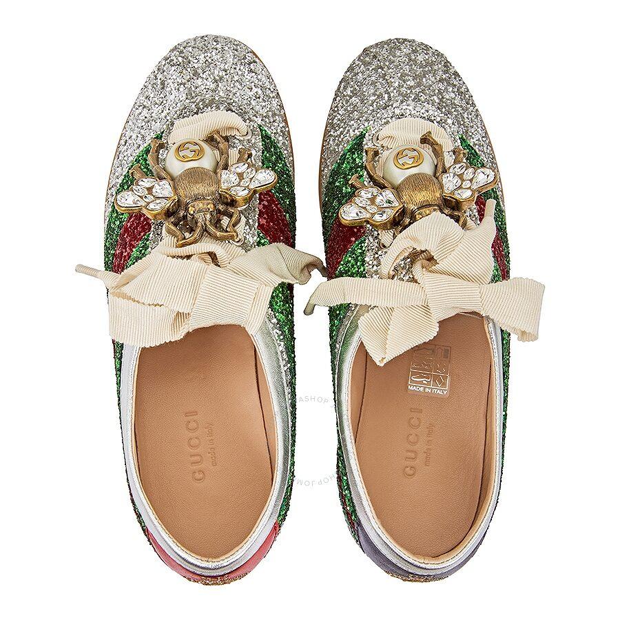 187810820 Gucci Glitter Sneakers- Silver - Shoes - Fashion   Apparel - Jomashop