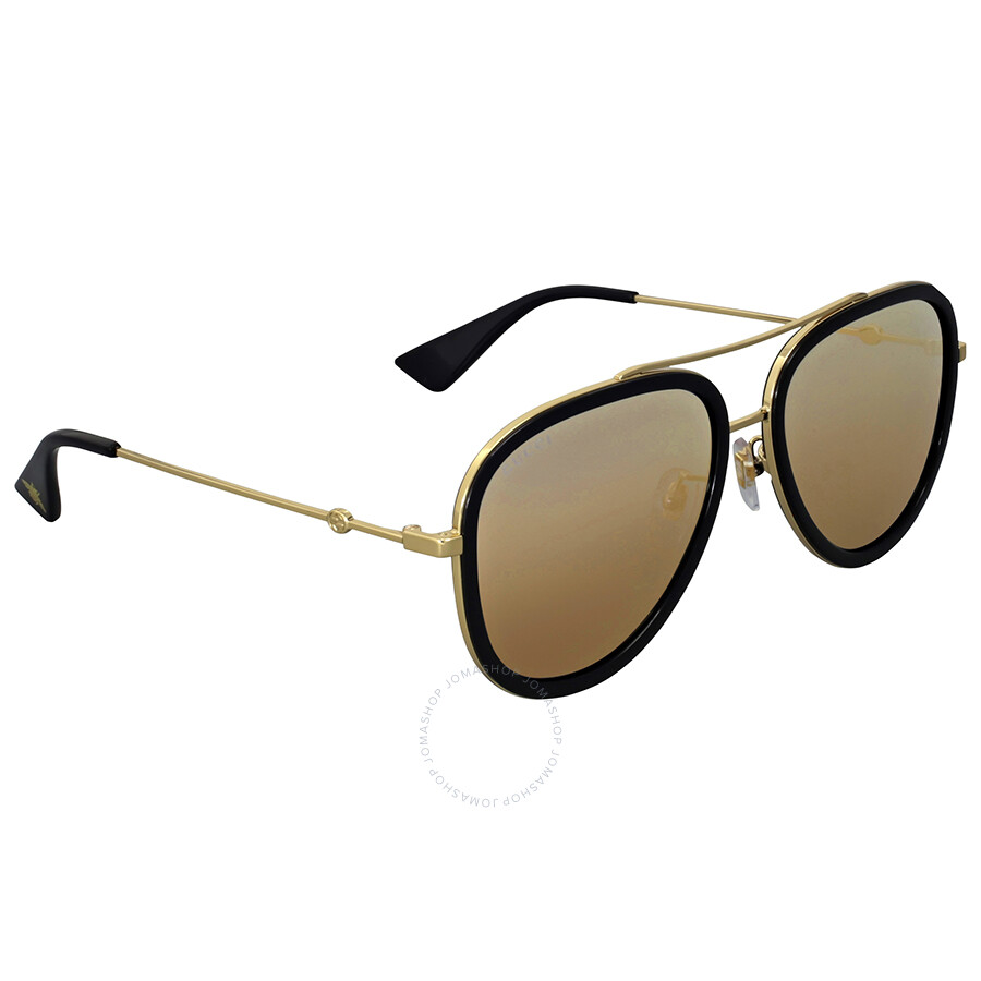 0fb1232418b Gucci Gold Aviator Ladies Sunglasses GG0062S 001 57 - Gucci ...