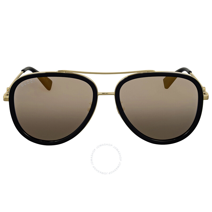 951aa23b85 Gucci Gold Aviator Ladies Sunglasses GG0062S 001 57 - Gucci ...