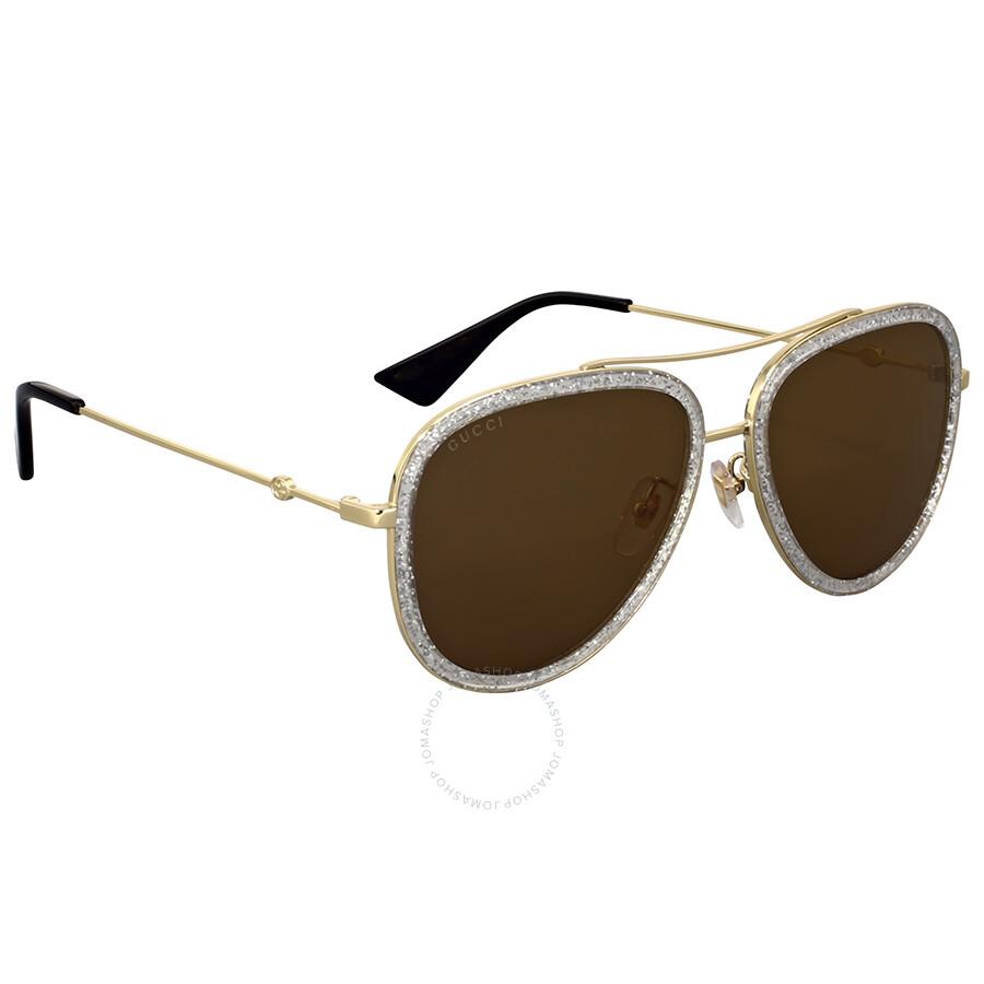 Gucci Gold Glitter Aviator Sunglasses - Gucci - Sunglasses - Jomashop 72b2bf9d2a