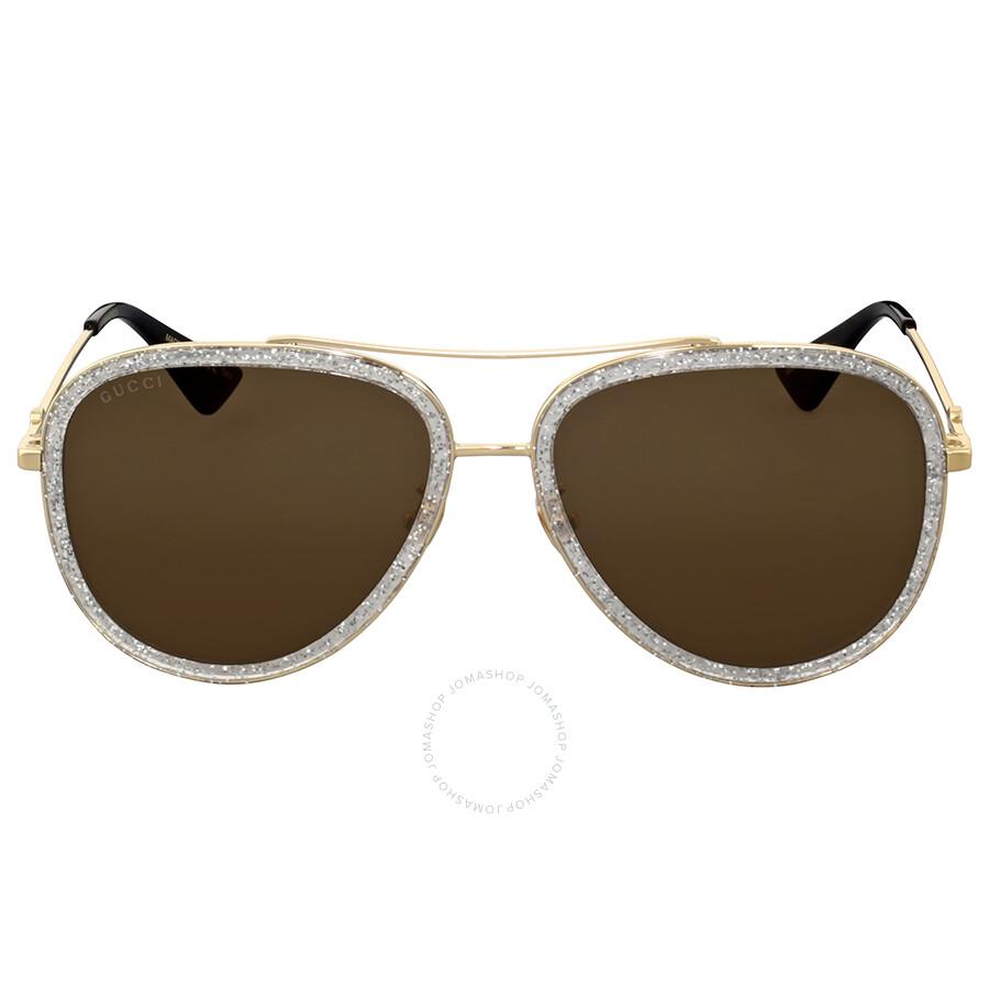 84a499b8d50 Gucci Gold Glitter Aviator Sunglasses Gucci Gold Glitter Aviator Sunglasses  ...