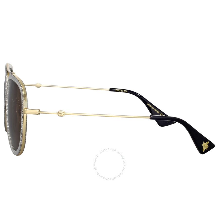 Gucci Gold Glitter Aviator Sunglasses Gucci Sunglasses Jomashop