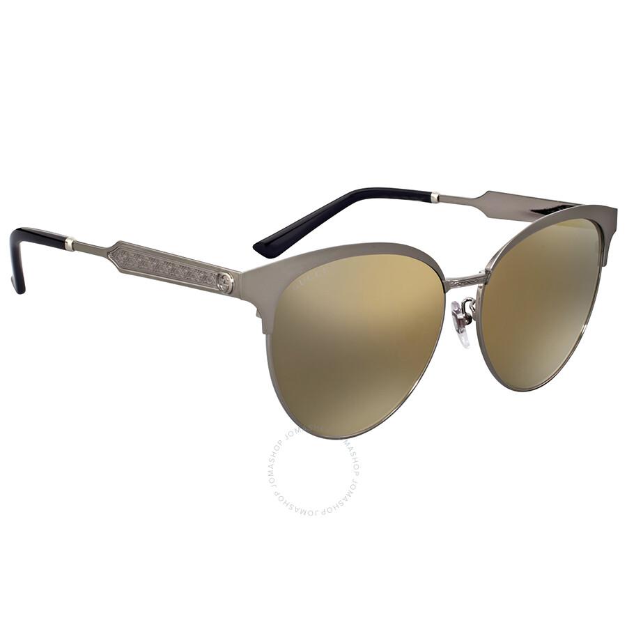 5ac22749e6 Gucci Gold Mirror Cat Eye Sunglasses Gucci Gold Mirror Cat Eye Sunglasses  ...