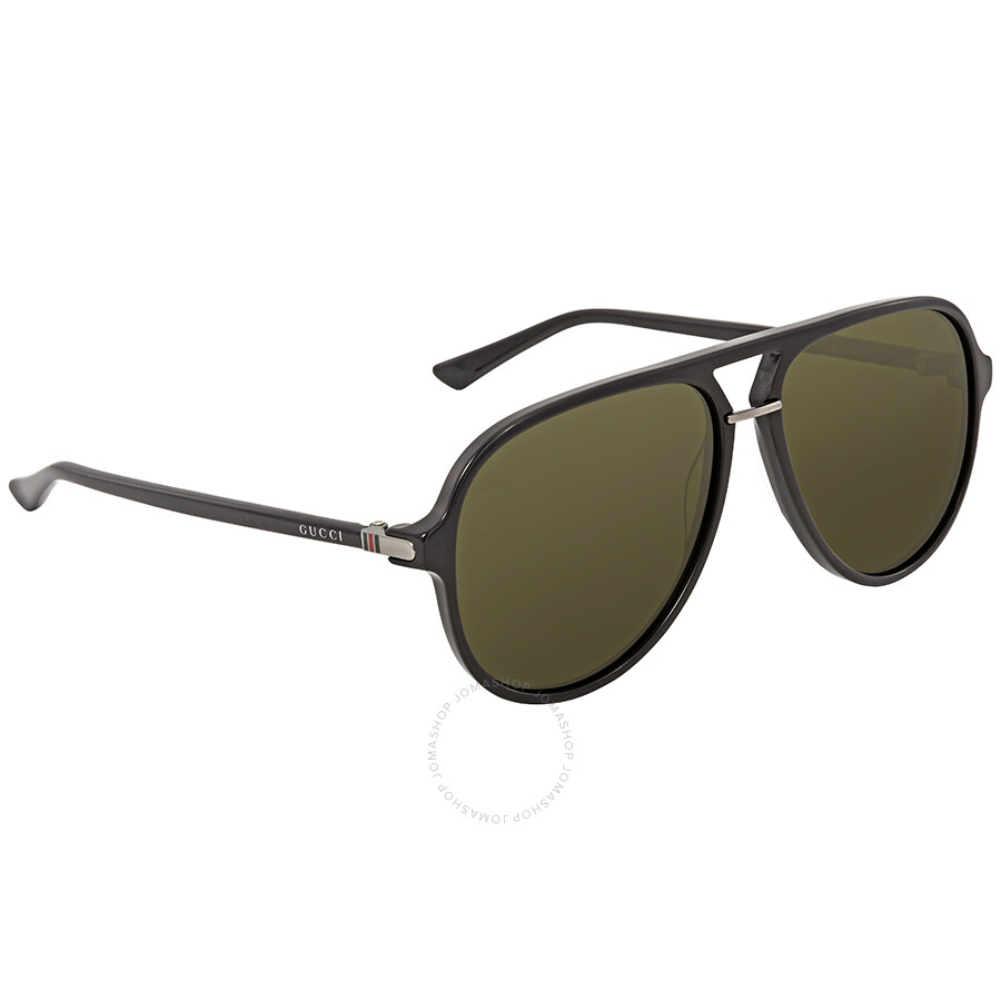 97a244b619e Gucci Green Aviator Men s Sunglasses GG0015S-001 58 - Gucci ...