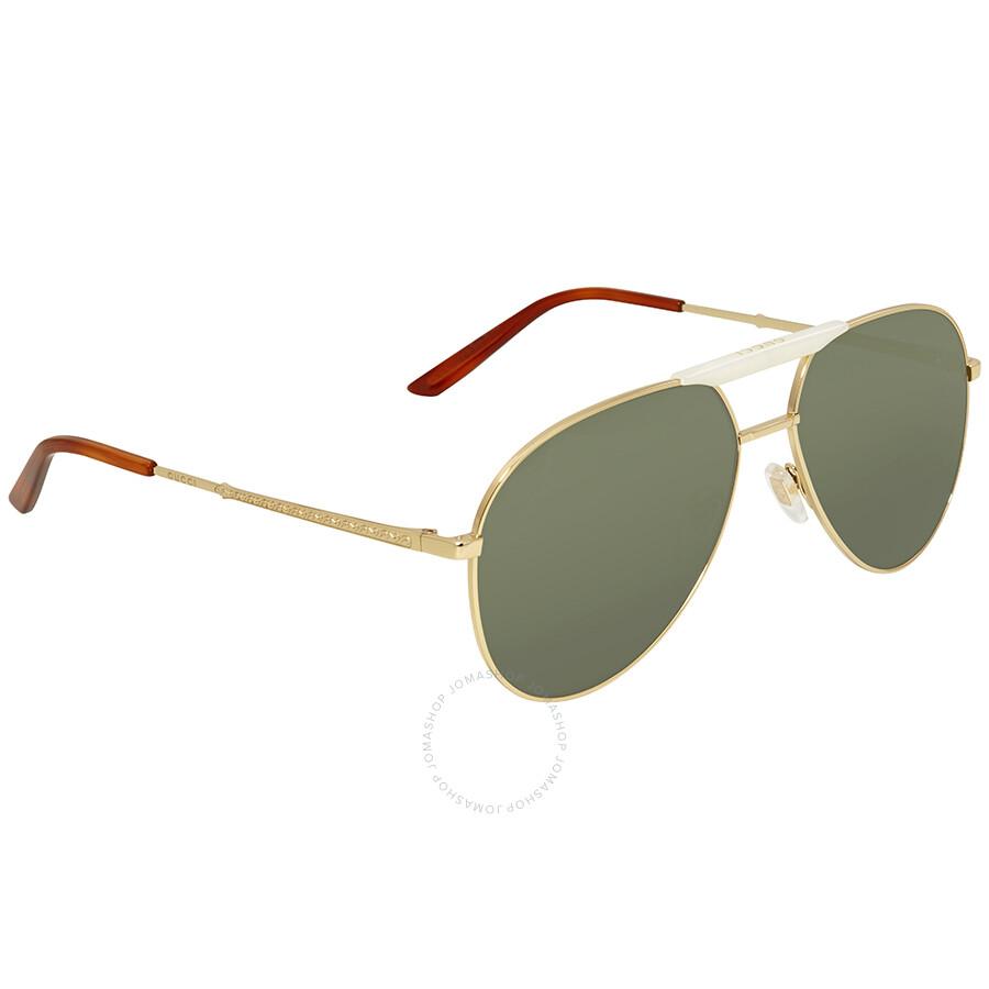 3b4e0ee557 Gucci Green Aviator Sunglasses GG0242S 003 59 - Gucci - Sunglasses ...