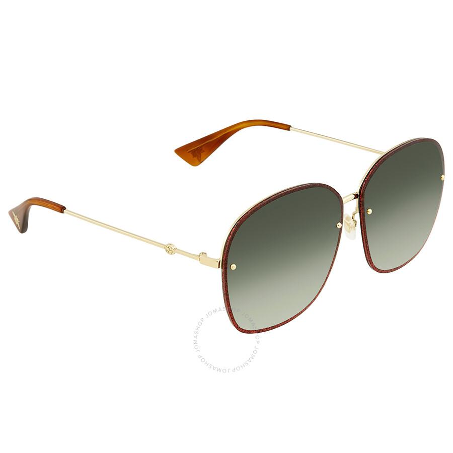 dd172a1841 Gucci Green Gradient Oval Sunglasses GG0228S 001 63 - Gucci ...