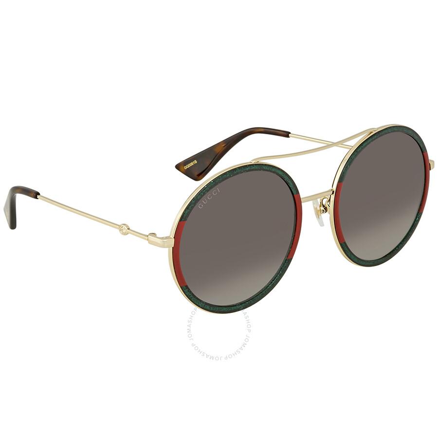 0f25cd25282 Gucci Green Gradient Round Sunglasses GG 0061S 008 56 - Gucci ...