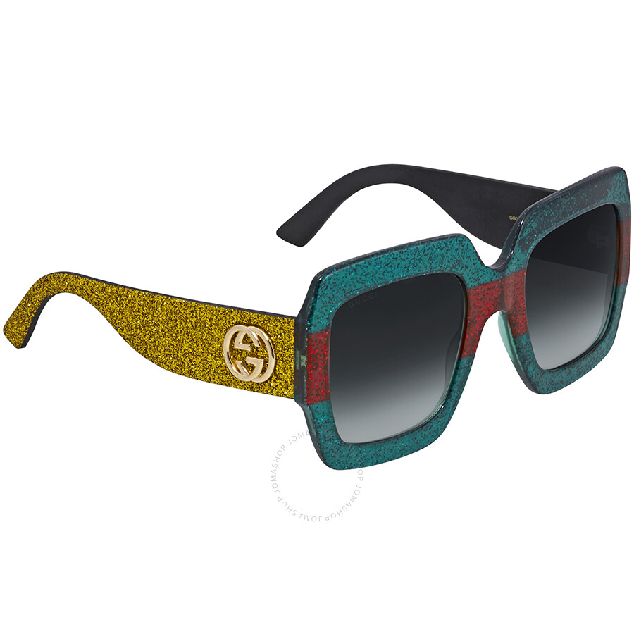 7de1b559fab6 Gucci Green Gradient Square Ladies Sunglasses GG0102S 006 54 - Gucci ...