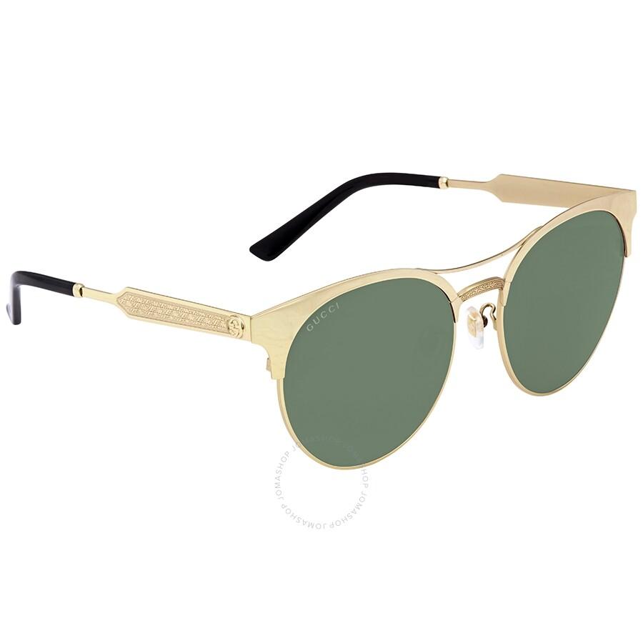8d0bec874b Gucci Green Round Sunglasses GG0075SK 003 56 - Gucci - Sunglasses ...