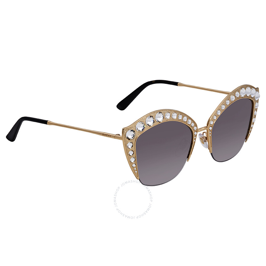 6a5aa0a61af Gucci Grey Gradient Crystal Studded Ladies Sunglasses GG0114S 001 53 ...