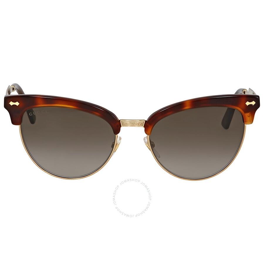 b81a4d89bc4 Gucci Grey Gradient Havana Cat Eye Sunglasses - Gucci - Sunglasses ...