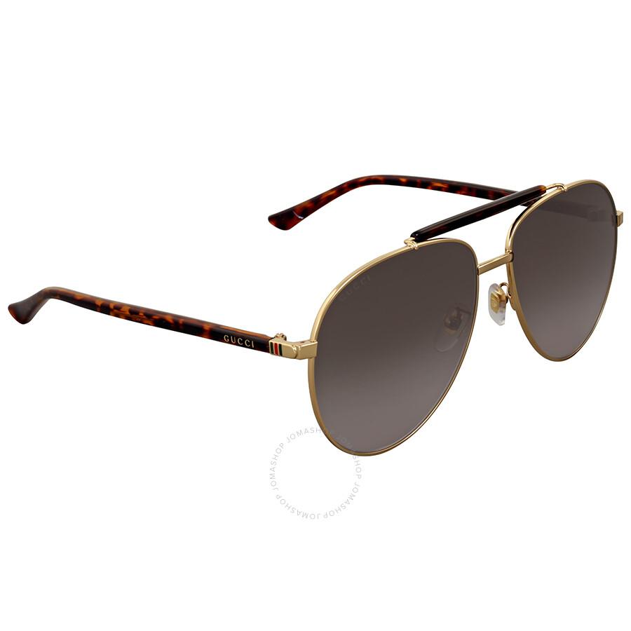 0efa84474ecba Gucci Grey Gradient Metal Aviator Sunglasses - Gucci - Sunglasses ...
