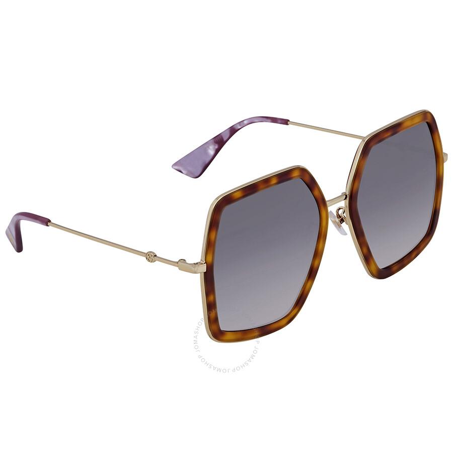 9dafc2a92c69 Gucci Grey Gradient Round Ladies Sunglasses GG0106S 003 56 - Gucci ...