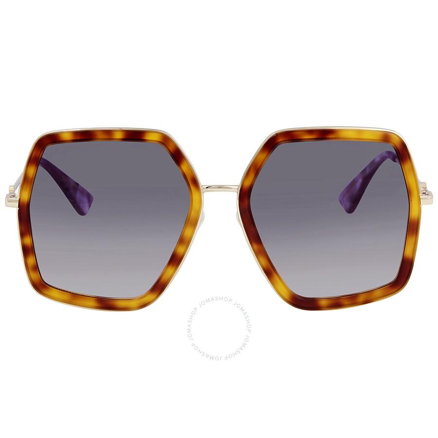 2a4c482f15 Gucci Grey Gradient Round Ladies Sunglasses GG0106S 003 56 - Gucci ...
