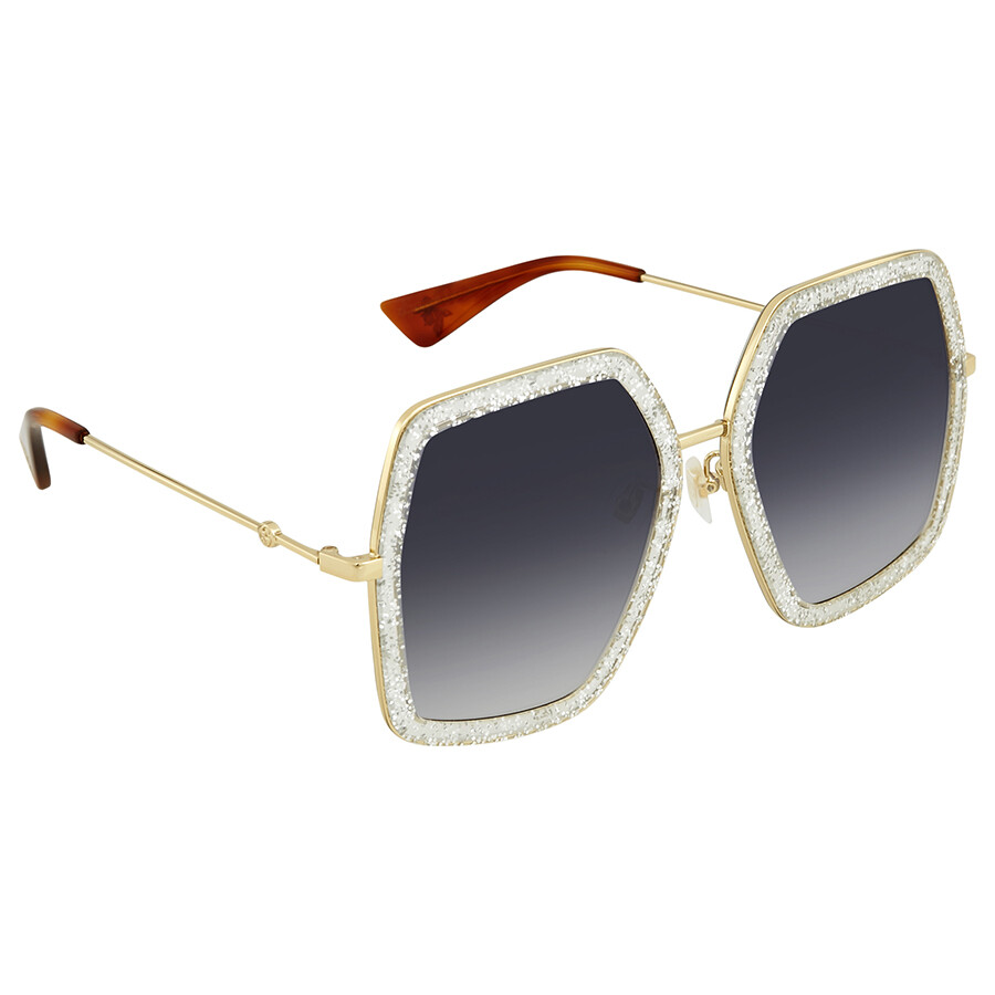 656b4dda509 Gucci Grey Gradient Round Ladies Sunglasses GG0106S 006 56 - Gucci ...