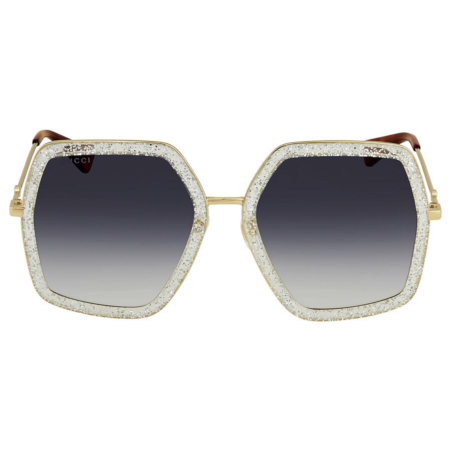 14314711e9 Gucci Grey Gradient Round Ladies Sunglasses GG0106S 006 56 - Gucci ...