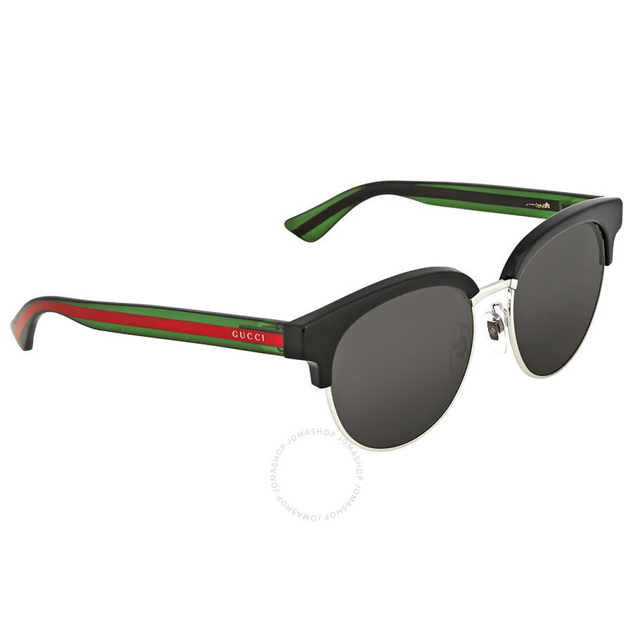 a6723a3a836 Gucci Grey Round Sunglasses GG0058SK 002 55 - Gucci - Sunglasses ...