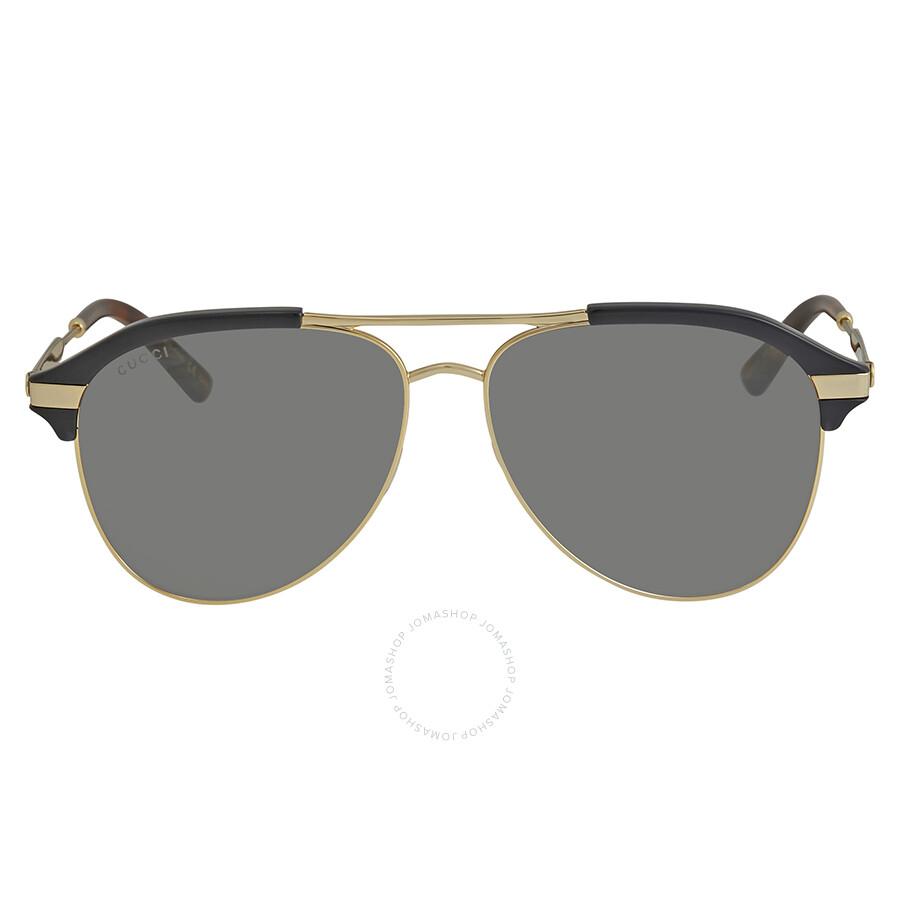 4f8c37bf09b Gucci Grey-Silver Aviator Sunglasses GG0288SA-005 60 - Gucci ...