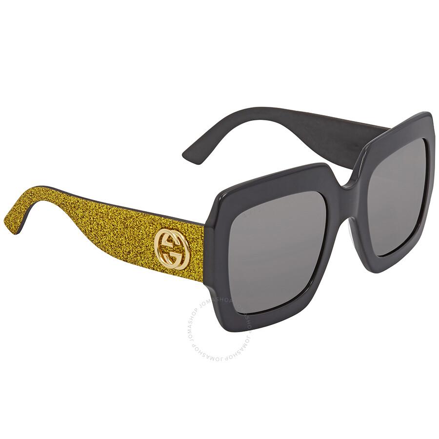 26718022cbe3 Gucci Grey Square Gold Glitter Sunglasses GG 0102S 002 54 - Gucci ...