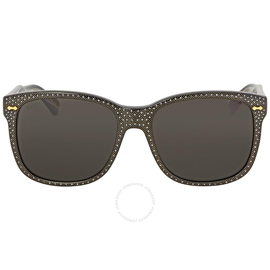 8a23041735a Gucci Grey Square Studded Sunglasses GG0047S 001 56 - Gucci ...