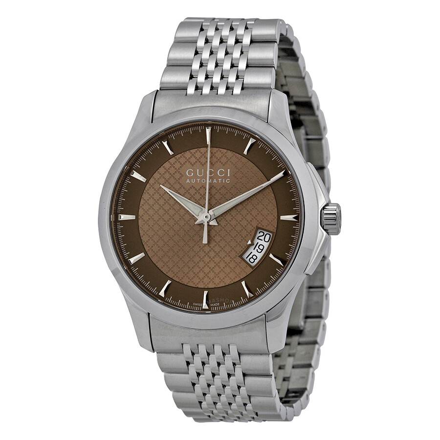 gucci g timeless brown stainless steel automatic