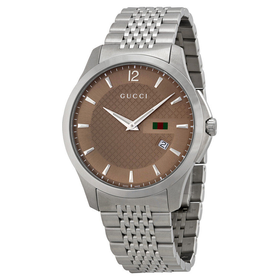 buy online b5012 04850 Gucci G-Timeless Brown Dial Stainless Steel Men's Watch YA126310