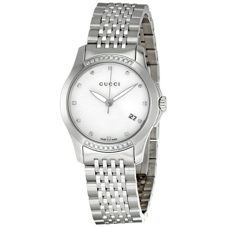 c74762f5844 Gucci G-timeless Diamond Mother of Pearl Dial Ladies Watch YA126510 ...