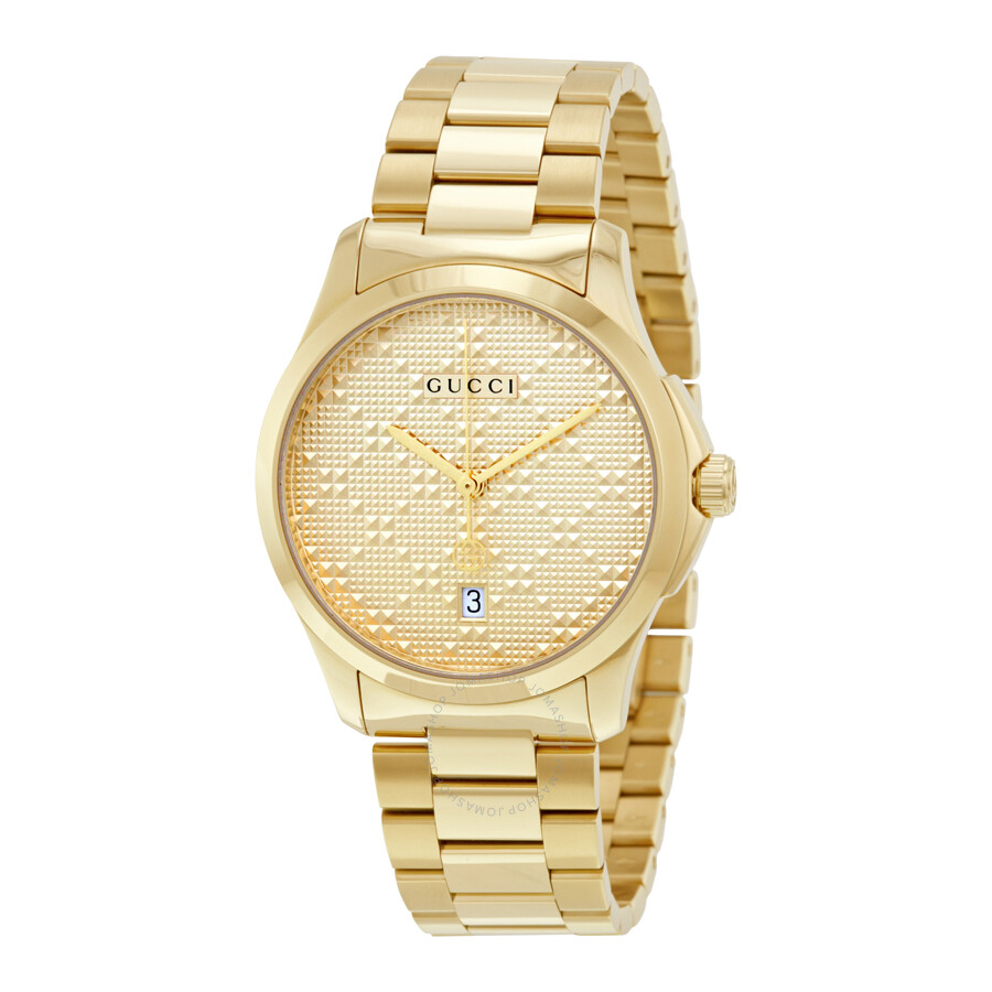 gucci watch. gucci g-timeless yellow gold diamond pattern dial quartz unisex watch ya126461 o