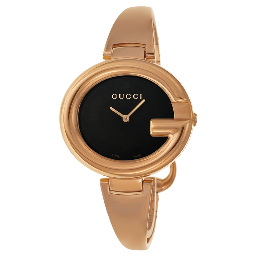 67eda6052b1 Gucci Guccissima Black Dial Rose Gold PVD Ladies Watch YA134305 ...