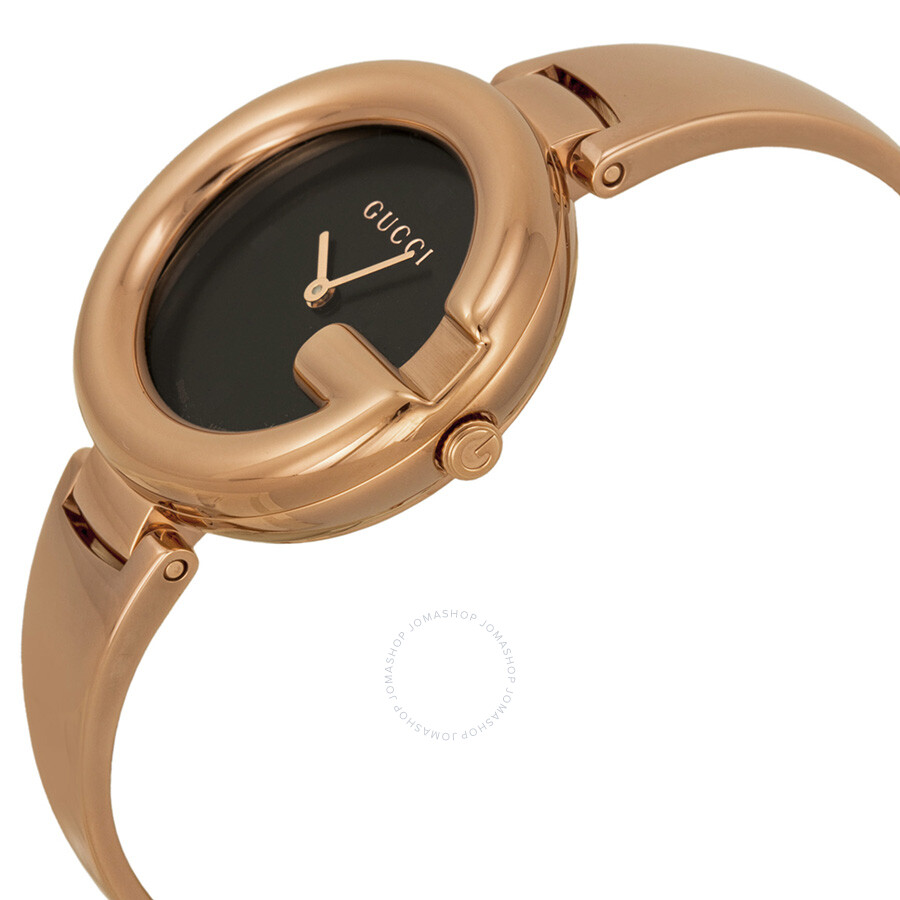 cdb35c102ae ... Gucci Guccissima Black Dial Rose Gold PVD Ladies Watch YA134305 ...