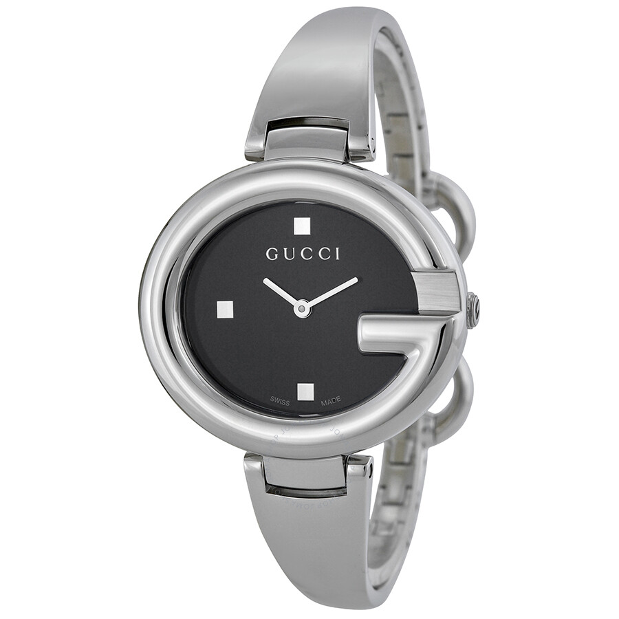 cc708a739e7 Gucci Guccissima Black Dial Stainless Steel Ladies Watch YA134301 ...