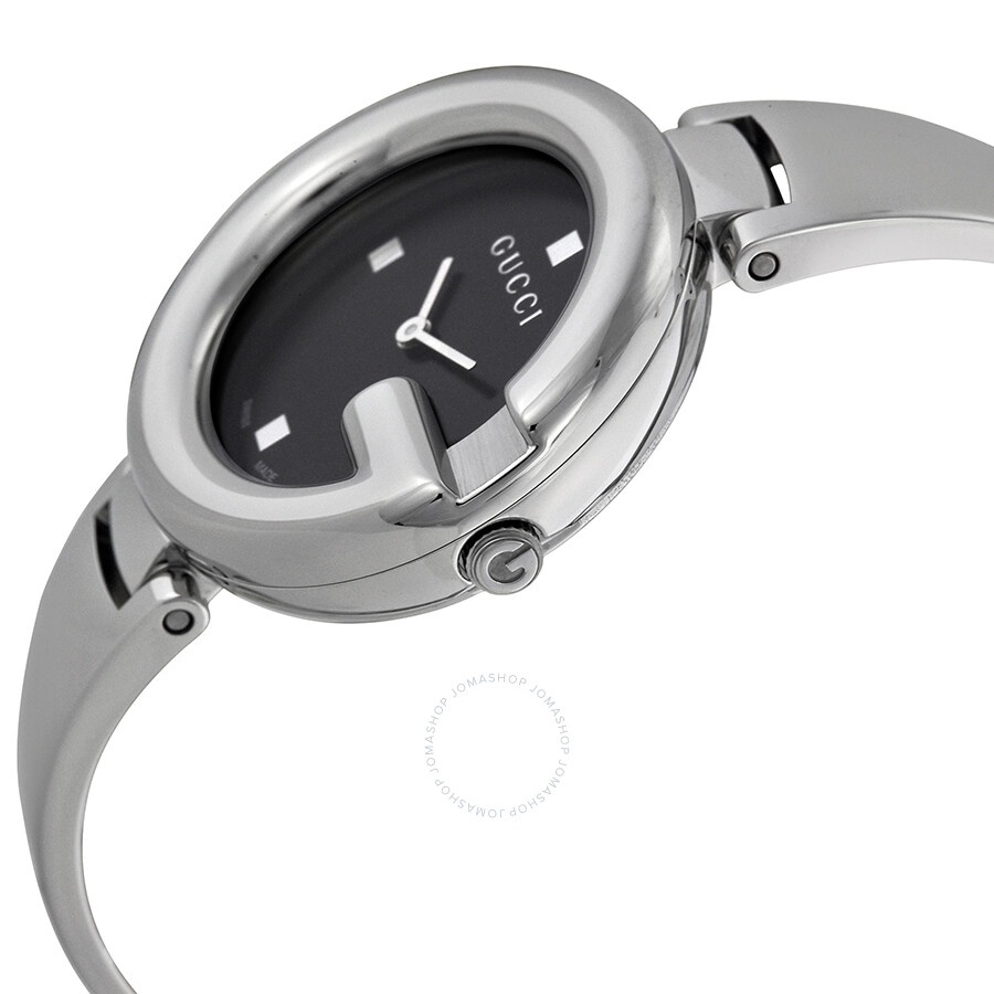 c2d3c6f4343 ... Gucci Guccissima Black Dial Stainless Steel Ladies Watch YA134301 ...