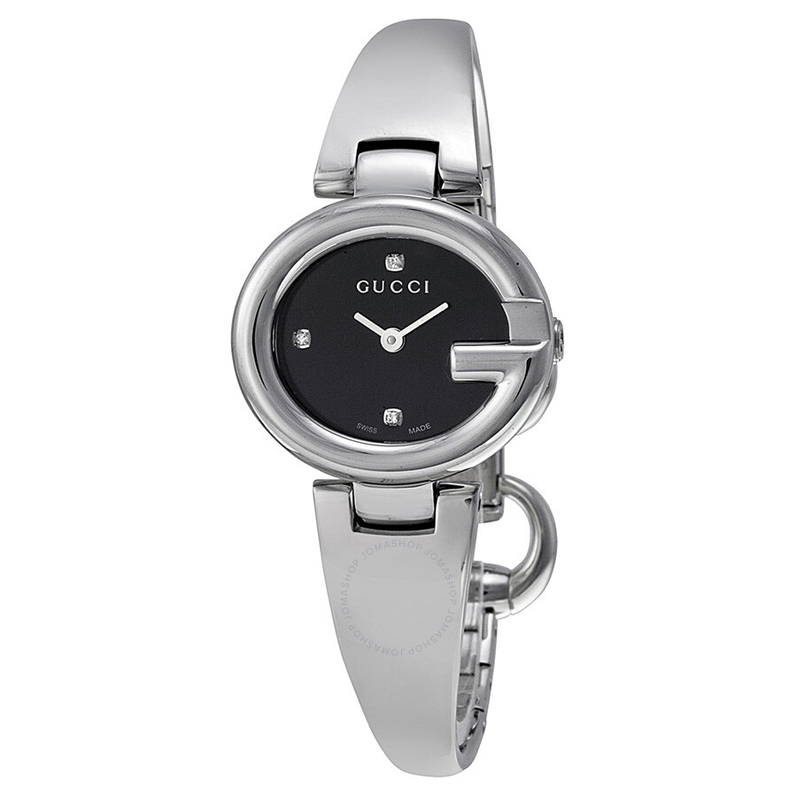 Gucci guccissima black dial stainless steel ladies watch ya134505 guccissima gucci watches for Stainless steel watch