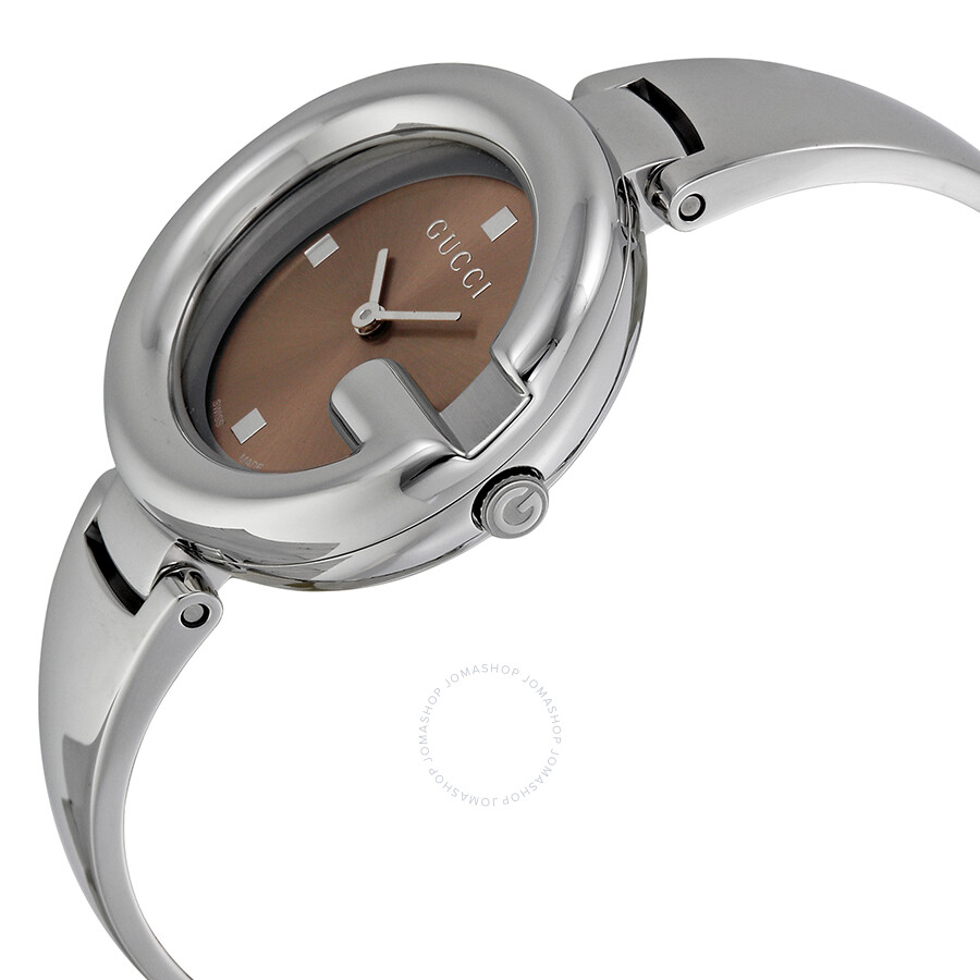 beade8a1a8d ... Gucci Guccissima Brown Dial Stainless Steel Ladies Watch YA134302 ...