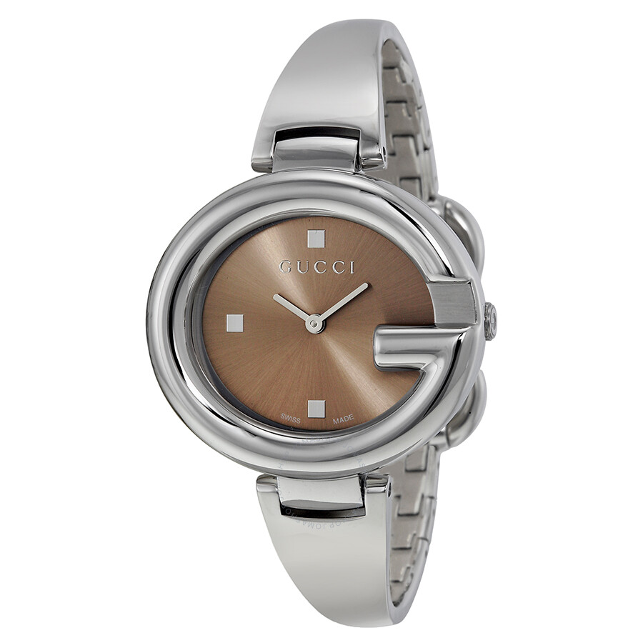 28a60791d22 Gucci Guccissima Brown Dial Stainless Steel Ladies Watch YA134302 ...