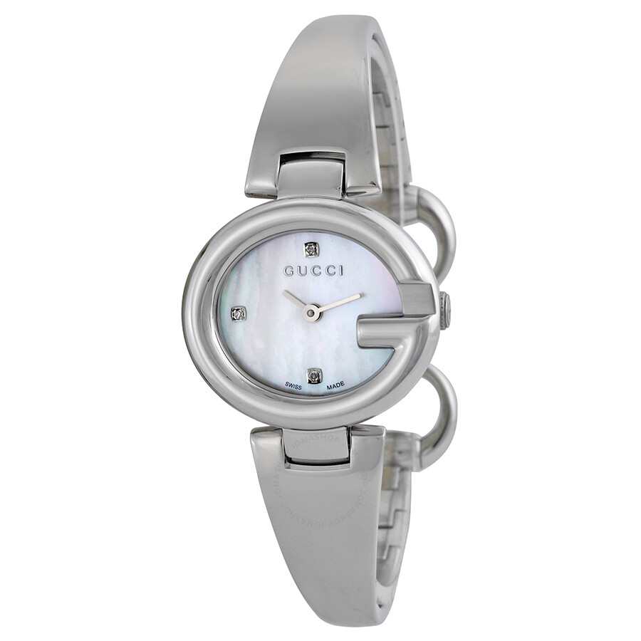 4a3d9ae8934 Gucci Guccissima Diamond Mother of Pearl Dial Stainless Steel Ladies Watch  YA134504 ...