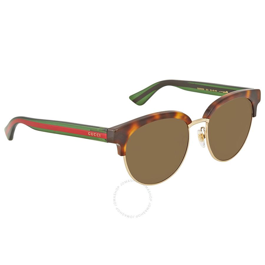 57201b58 Gucci Havana/Gold Round Sunglasses GG0058SK 003 55
