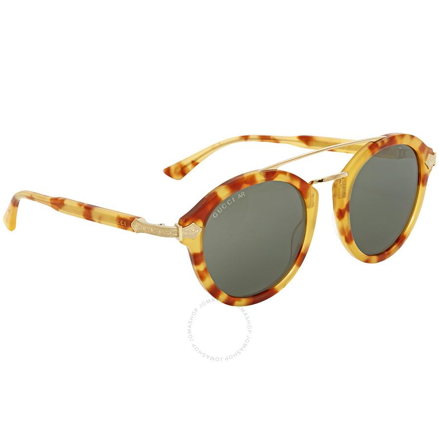 54527a24e6 Gucci Havana Round Sunglasses GG0090S 002 47 - Gucci - Sunglasses ...