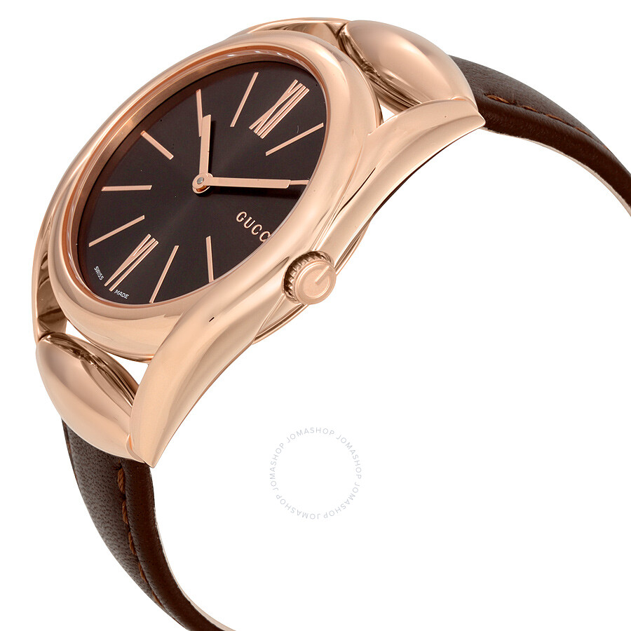 Leather Gmbh Contact Us Email Sales Mail: Gucci Horsebit Brown Dial Brown Leather Ladies Watch