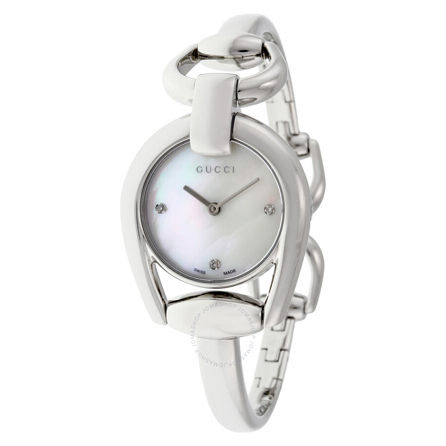 31624594408 Gucci Horsebit Collection Mother of Pearl Dial Stainless Steel Ladies Watch  YA139506 ...