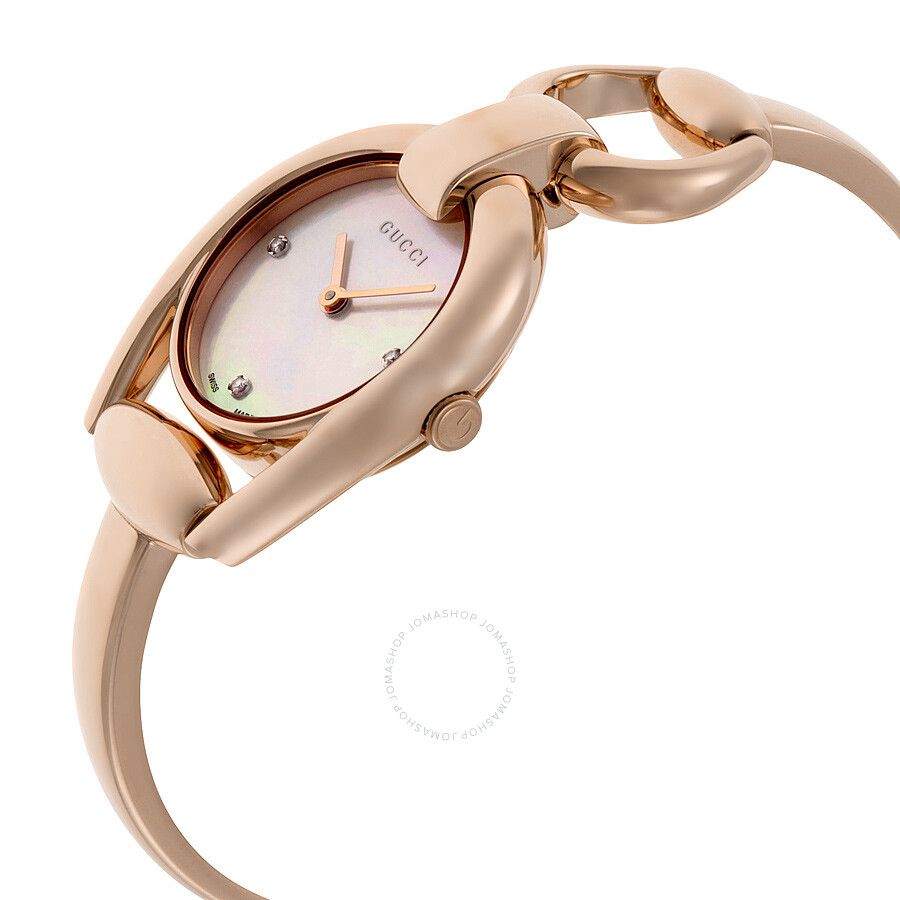 ae89e266f68 ... Gucci Horsebit Mother of Pearl Dial Rose Gold PVD Ladies Watch YA139508  ...