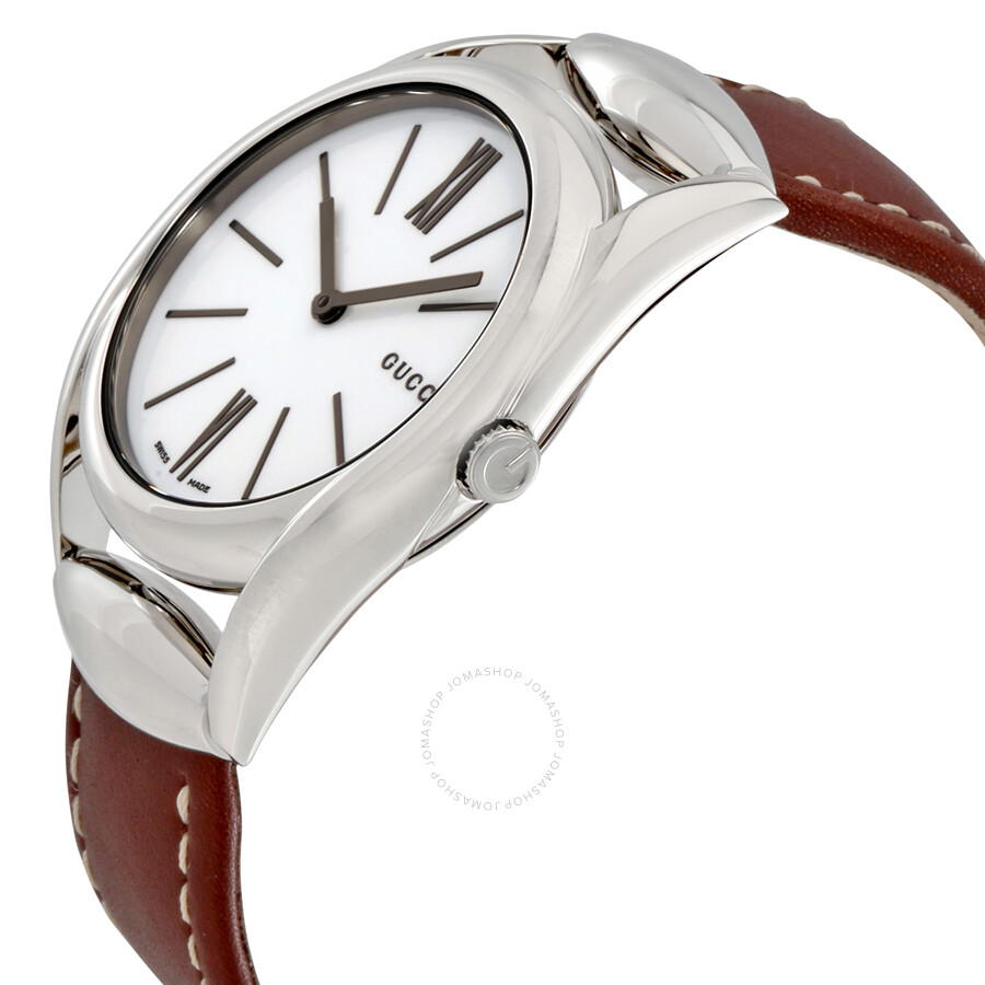 0ae9569d96d7 Gucci Horsebit Silver Dial Leather Ladies Watch YA140402 - Horsebit ...