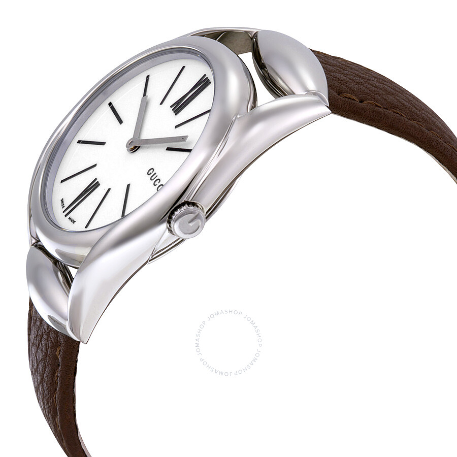 6e20a5e2b76a ... Gucci Horsebit White Dial Brown Leather Ladies Watch YA140401 ...