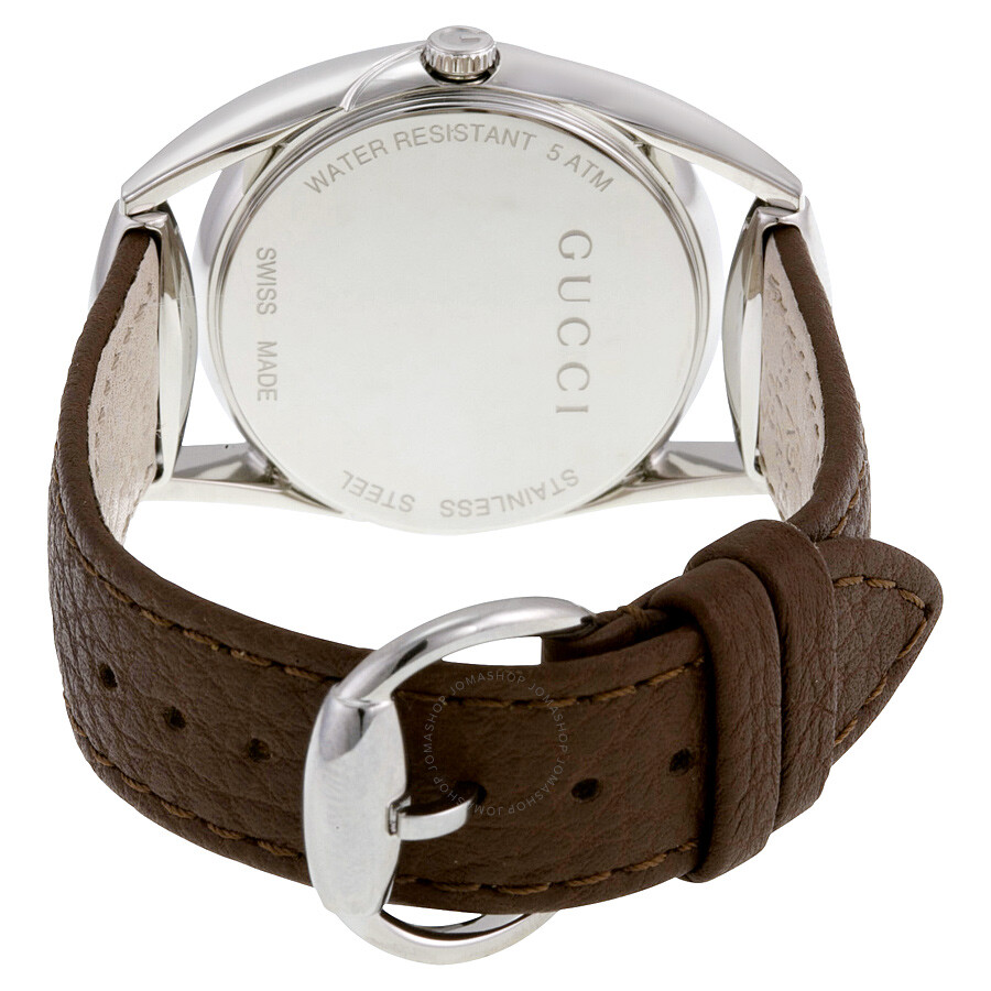 8348a9e3a24 Gucci Horsebit White Dial Brown Leather Ladies Watch YA140401 ...