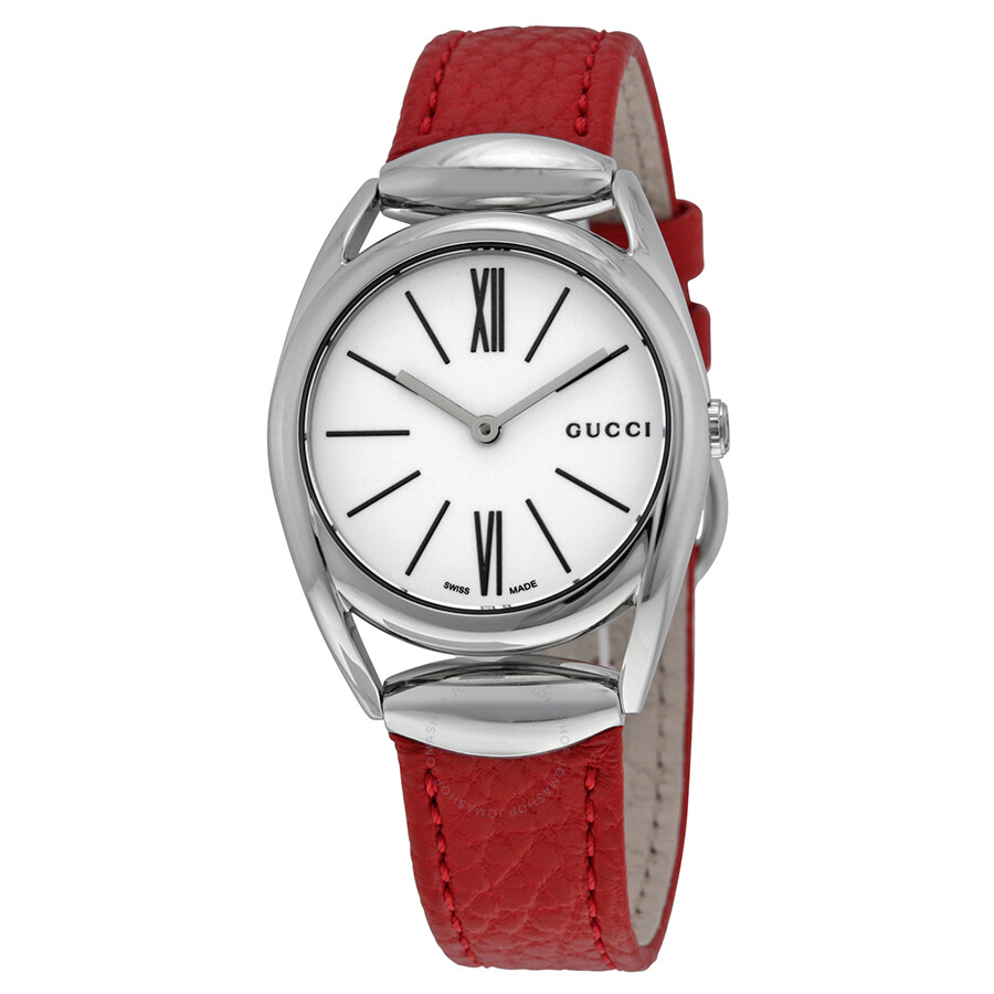 02f6b5ccf4cb Gucci Horsebit White Dial Red Leather Ladies Watch YA140501 ...