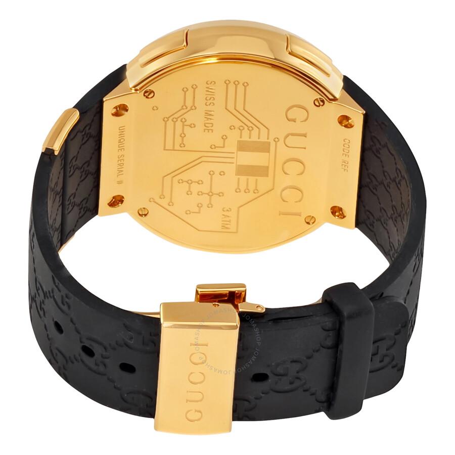 2fb2f0379a6 Gucci I-Gucci Yellow Gold-Tone Black Rubber Men s Watch YA114229 - I ...