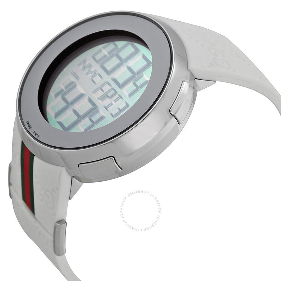 eb29885c3c4 ... Gucci I-Gucci Striped White Rubber Extra Large Unisex Digital Watch  YA114214 ...